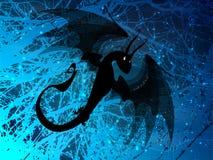 dragon noir ardemment sur le bleu illustration stock