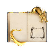 Dragon and old book Stock Image