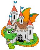 Dragon with old castle. Illustration Royalty Free Stock Photo