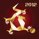 Dragon Origami, 2012 Year - Gold&Red. Vector Stock Images