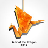 Dragon origami. Origami dragon made of pieces of orange and colour paper. EPS10 stock illustration