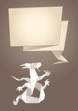 Dragon origami, paper speech bubble. Vector Stock Illustration