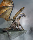 Dragon over a rock. Fantasy illustration of a dragon over a rock Royalty Free Stock Photography