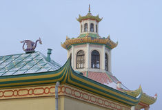 Dragon and pagoda. A fragment of the complex Chinese village at Tsarskoe Selo Stock Photo
