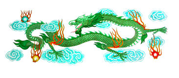 Dragon  paint. Beautiful green dragon paint with blue cloud and marble glass fire Royalty Free Stock Photos