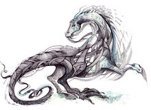 Dragon. Painting of monster in form of  dragon Royalty Free Stock Photo