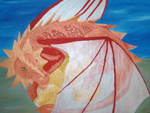 Dragon. Painting of a red drageon Royalty Free Stock Photo