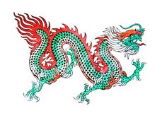 Dragon painting on white background. Royalty Free Stock Photo