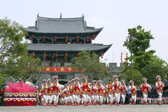 Dragon Parade and Chinese Gate Stock Image