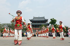 Dragon Parade and Chinese Gate Stock Photos