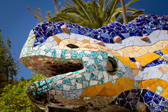 Dragon at Parc Guell. Ceramic dragon at Parc Guell, designed by Antoni Gaudi. Symbol of Barcelona Stock Photos
