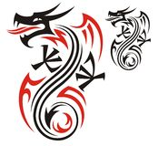 Dragon pattern. Stylized dragon pattern as tattoo Royalty Free Stock Photos