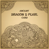 Dragon with pearl. Authentic parchment oriental dragon with pearl card Royalty Free Stock Photos
