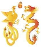 Dragon and Phoenix Chinese Symbols Illustration Stock Photography
