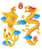 Dragon and Phoenix with Clouds Illustration Stock Image