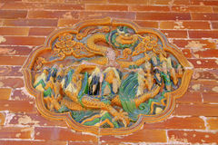 Dragon and Phoenix Gate glazed tile decoration in the Eastern Ro Royalty Free Stock Photography