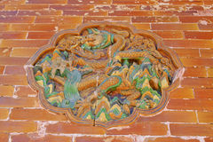 Dragon and Phoenix Gate glazed tile decoration in the Eastern Ro Stock Photos