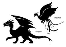 Dragon and phoenix side view pictogram. Stock Photo