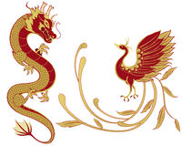 Dragon and phoenix for symbolism in traditional Chinese wedding Stock Image