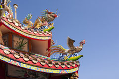Dragon and phoenix on the templ roof Royalty Free Stock Images