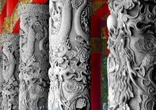 Dragon Pilar. Stone pilar at Semarang temple Stock Photo