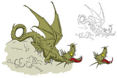 Dragon on a pile of bones. Stock illustration. Royalty Free Stock Photography