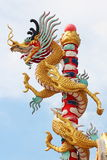 Dragon pillar. With blue sky Stock Photo