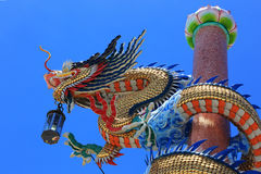 Dragon pillars under blue sky in the Chinese Shrine Royalty Free Stock Image