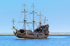 Dragon - pirate ship on the water of Baltic Sea in Gdynia Royalty Free Stock Images