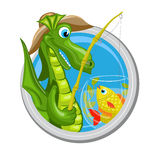 Dragon Pisces zodiac sign. Pisces. Zodiac sign. Horoscope. Dragon fisherman is fishing in aquarium with fishes Stock Images