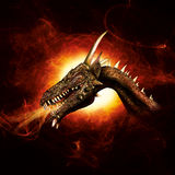 Dragon in plasma flames royalty free illustration