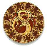 Dragon plate. Illustration of plate with dragon medieval ornament Stock Photography