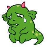 Dragon pleurant triste de monstre de bande dessinée mignonne Image stock