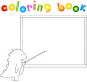 Dragon with pointer at the school board. Coloting book Stock Photo