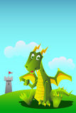 Dragon pointing at tower Stock Photo