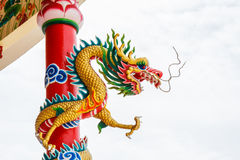 Dragon on pole Stock Images