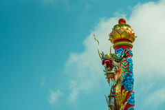 Dragon post. In temple in springday of thailand Royalty Free Stock Image
