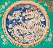 Dragon power pattern on the wall Stock Photo