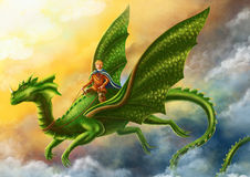 Dragon and Prince. Illustration. Dragon and Prince. Digital painting Royalty Free Stock Images