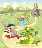 Dragon, Prince and Princess with background. Cartoon and  scene Stock Photos