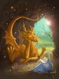 Dragon and princess reading a book. Dragon and princess. Digital painting stock illustration