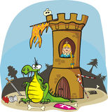 Dragon and princess in tower Stock Photography