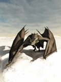 Dragon Prowling through the Snow. Grey scaled dragon prowling through a snowy winter landscape, 3d digitally rendered illustration Stock Image