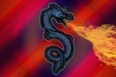 Dragon that pulls flame in a warm color background. An abstract background made up of a flaming dragon. The back is made up of warm colors Vector Illustration