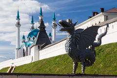 Dragon and Qol Sharif Mosque, Kazan, Russia. Dragon and Qol Sharif Mosque Royalty Free Stock Images