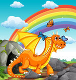Dragon and rainbow Stock Images