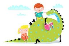 Dragon Reading Book aan Jongen en Meisje vector illustratie