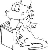 Dragon reading in book cartoon - vector Stock Images