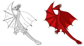 Dragon red cartoon including sketch Stock Photo