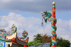 Dragon on red column in Chinese temple Stock Photos